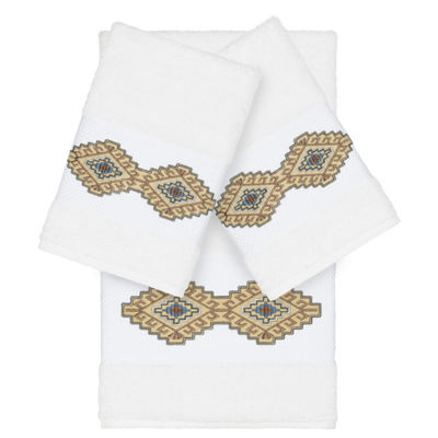 Linum Home Textiles 100% Turkish Cotton Gianna 3PC Embellished Towel Set