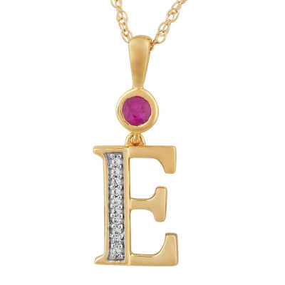 E Womens Lab Created Red Ruby 14K Gold Over Silver Pendant Necklace