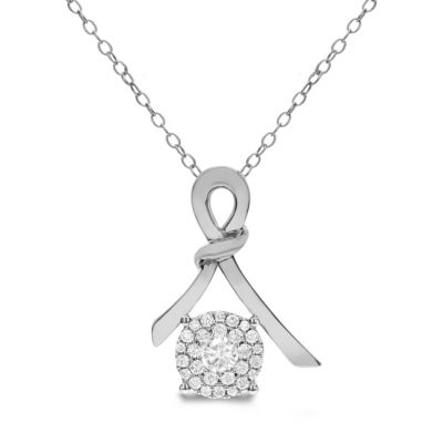 Womens 3/8 CT. T.W. White Diamond 14K White Gold Pendant Necklace