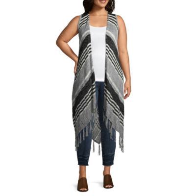 Unity World Wear Sleeveless Duster Sweater Vest - Plus