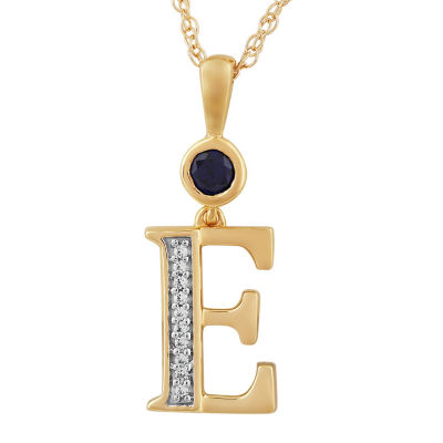 E Womens Lab Created Blue Sapphire 14K Gold Over Silver Pendant Necklace