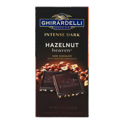 Ghirardelli Chocolate Intense Dark Hazelnut HeavenBar - 3.5 oz - 12 Count