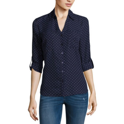 by&by 3/4 Sleeve V Neck Dobby Blouse-Juniors