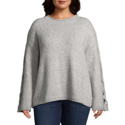 Boutique + Cut Out Sleeve Crew Neck Pullover Sweater - Plus