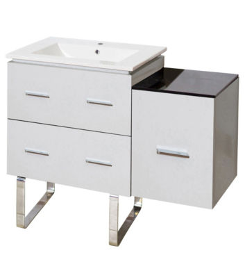 37.75-in. W Floor Mount White Vanity Set For 1 Hole Drilling