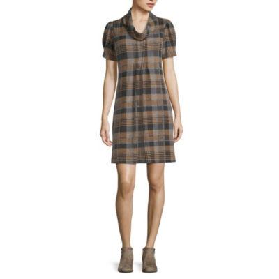 Jessica Howard Short Sleeve Plaid Fit & Flare Dress-Petite