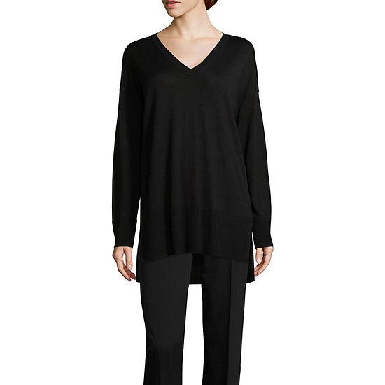 Worthington Womens V Neck Long Sleeve Striped Pullover Sweater