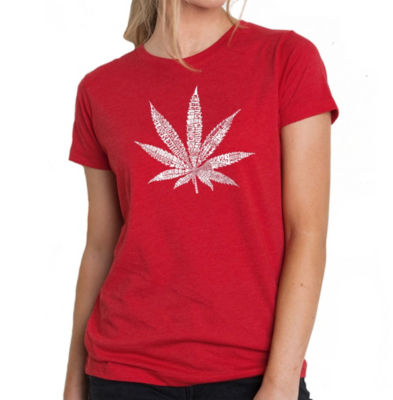 Los Angeles Pop Art Women's Premium Blend Word ArtT-shirt - 50 DIFFERENT STREET TERMS FOR MARIJUANA