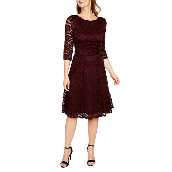Studio 1 3 4 Sleeve Floral Lace Fit Flare Dress