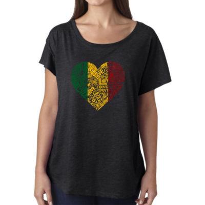 Los Angeles Pop Art Women's Loose Fit Dolman Cut Word Art Shirt - One Love Heart