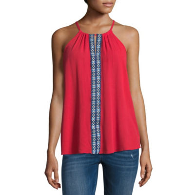 by&by Sleeveless Scoop Neck Crepon Blouse-Juniors