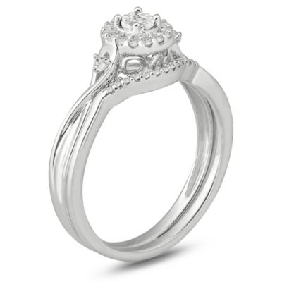Womens 1/6 CT. T.W. Genuine White Diamond Sterling Silver Bridal Set