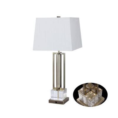 """Fangio Lighting's #1514SAB 30"""" Crystal & Antique Brass Metal Table Lamp with LED Night Light"""