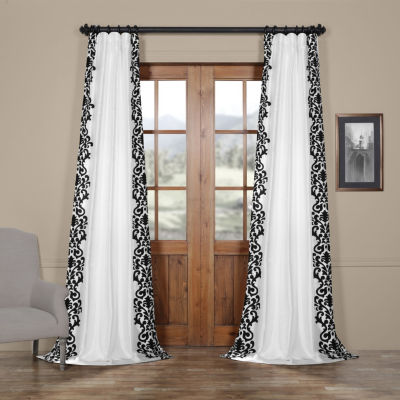 Exclusive Fabrics & Furnishing Castle Flocked Faux Silk Rod-Pocket Curtain Panel