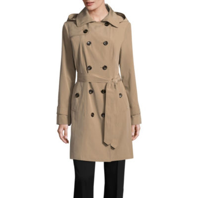 Liz Claiborne Woven Hooded Belted Water Resistant Lightweight Raincoat