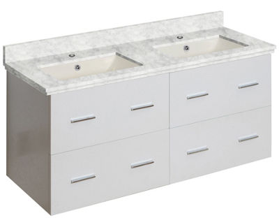 47.5-in. W Wall Mount White Vanity Set For 1 HoleDrilling Bianca Carara Top Biscuit UM Sink