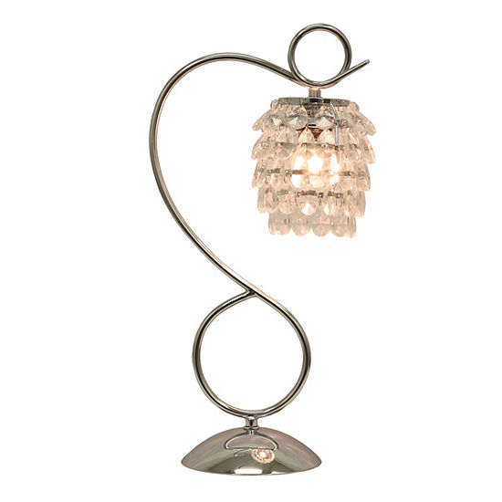 Decor Therapy Chrome and Crystal Dangles Table Lamp