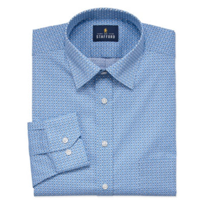 Stafford Travel Easy Care Stretch Broadcloth Long Sleeve Broadcloth Pattern Dress Shirt