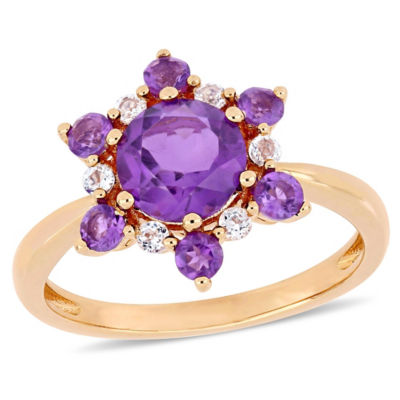 Womens Purple Amethyst 10K Gold Cocktail Ring