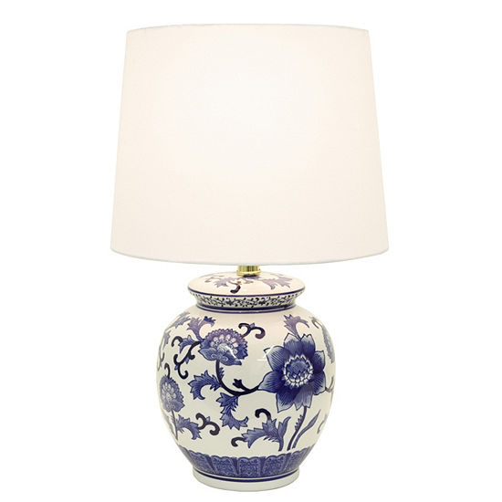 Decor Therapy Blue and White Ceramic Table Lamp