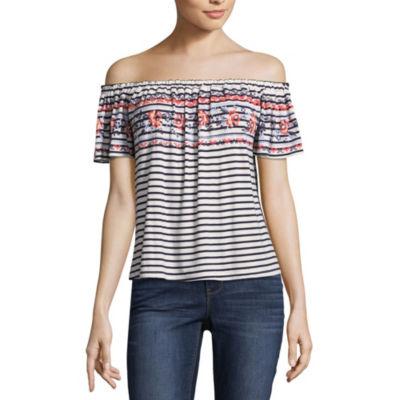 Rewind Short Sleeve Straight Neck Stripe T-Shirt-Womens Juniors