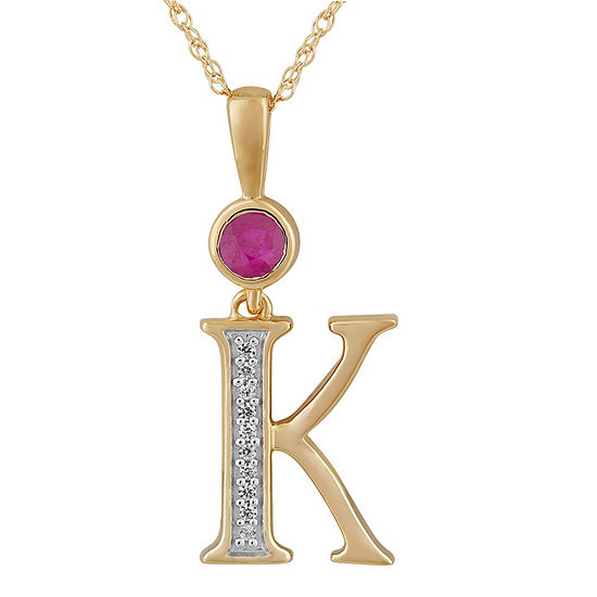 K Womens Lab Created Red Ruby 14K Gold Over Silver Pendant Necklace