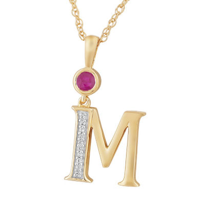 M Womens Lab Created Red Ruby 14K Gold Over Silver Pendant Necklace