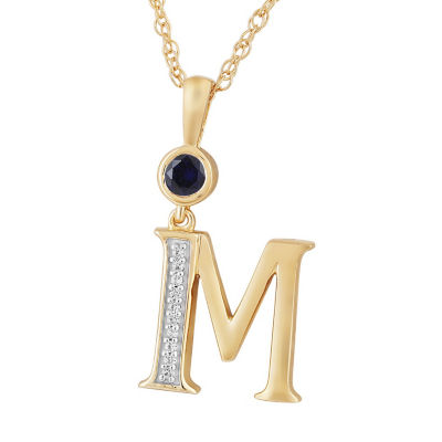 M Womens Lab Created Blue Sapphire 14K Gold Over Silver Pendant Necklace