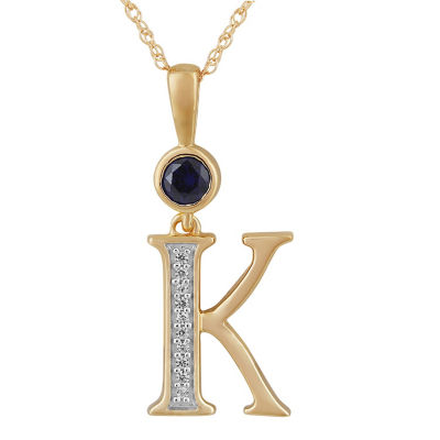 K Womens Lab Created Blue Sapphire 14K Gold Over Silver Pendant Necklace