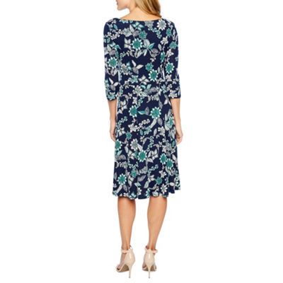 Studio 1 3/4 Sleeve Floral Puff Print Fit & Flare Dress