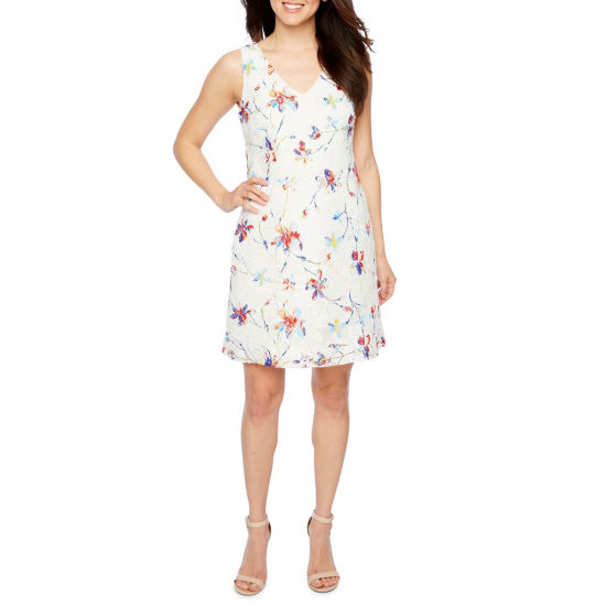Robbie Bee Sleeveless Lace Floral Shift Dress