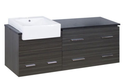 57.75-in. W 18-in. D Modern Wall Mount Plywood-Melamine Vanity Base Set Only In Dawn Grey