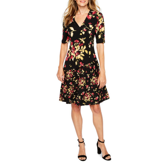 London Times Short Sleeve Floral Fit & Flare Dress
