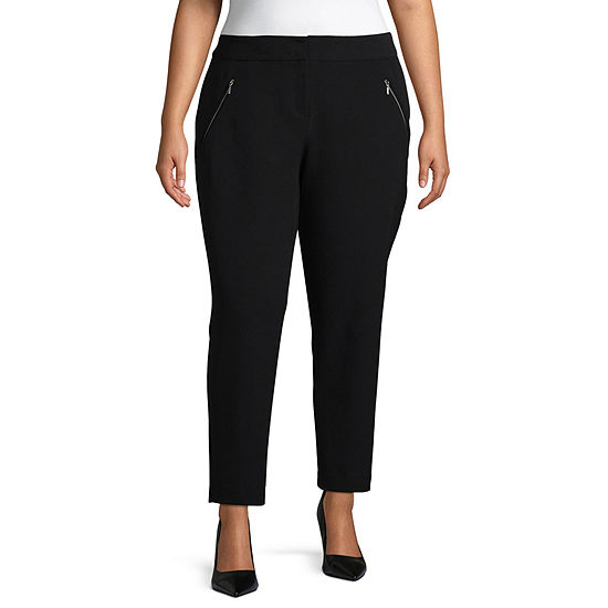 Worthington Womens Curvy Fit Ankle Pant