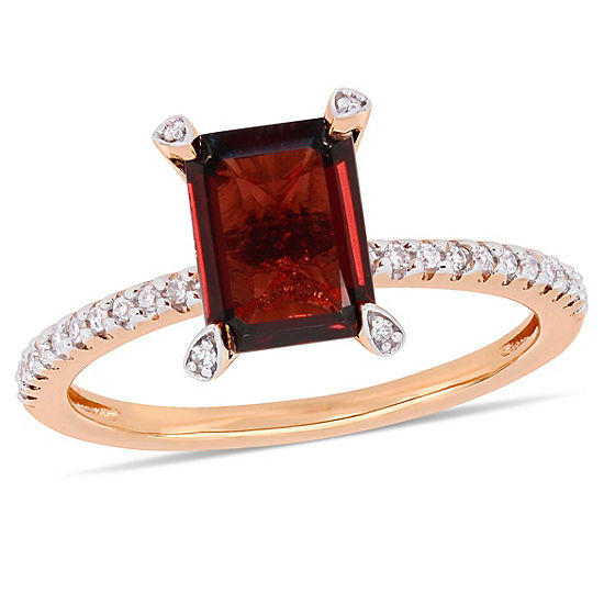 Womens 1/10 CT. T.W. Genuine Red Garnet 10K Rose Gold Cocktail Ring