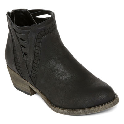 Pop Womens Sandwell Block Heel Zip Bootie
