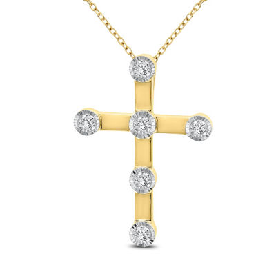 Womens 1/2 CT. T.W. White Diamond 14K Gold Cross Pendant Necklace