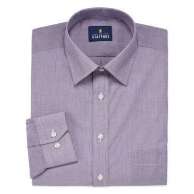 Stafford Travel Easy Care Stretch Broadcloth Long Sleeve Broadcloth Stripe Dress Shirt