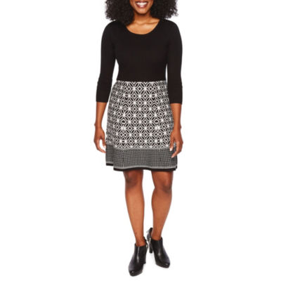 Studio 1 3/4 Sleeve Sweater Dress-Petite