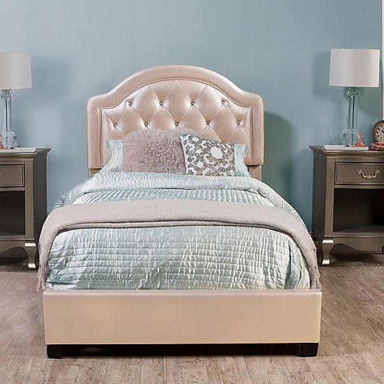 Karley Button Tufted Faux Leather Platform Bed Jcpenney