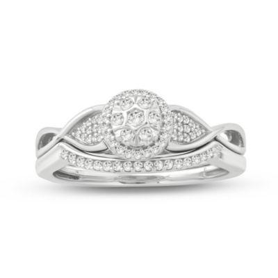 Womens 1/5 CT. T.W. White Diamond Sterling Silver Bridal Set