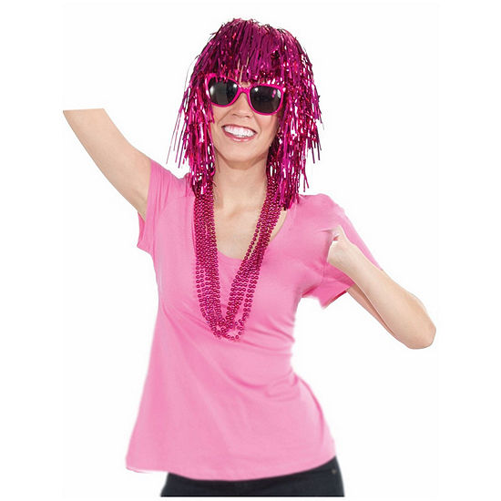 Pink Tinsle Wig Dress Up Accessory
