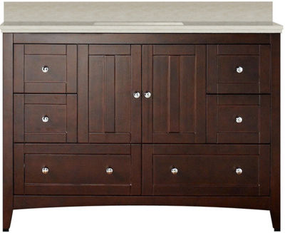 47.6-in. W Floor Mount Walnut Vanity Set For 3H4-in. Drilling Beige Top White UM Sink
