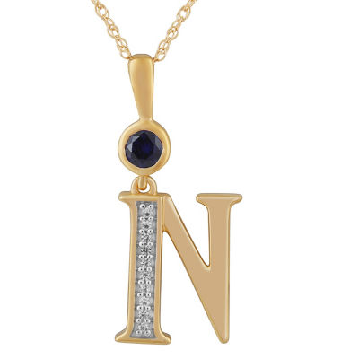 N Womens Lab Created Blue Sapphire 14K Gold Over Silver Pendant Necklace