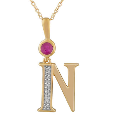 N Womens Lab Created Red Ruby 14K Gold Over Silver Pendant Necklace