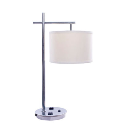 Fangio Lighting's #1750XX 26 inch Tech-Friendly Metal Table Lamp in Chrome Finish with 2 ConvenienceOutlets