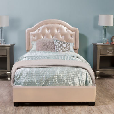 Karley Button-Tufted Faux-Leather Platform Bed
