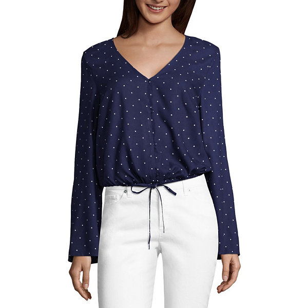 Arizona Long Sleeve V Neck Woven Blouse-Juniors