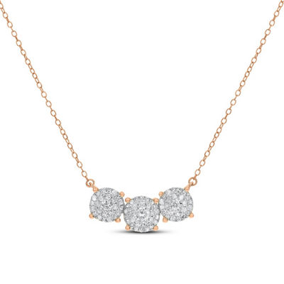 Womens 1/2 CT. T.W. White Diamond 14K Rose Gold Pendant Necklace