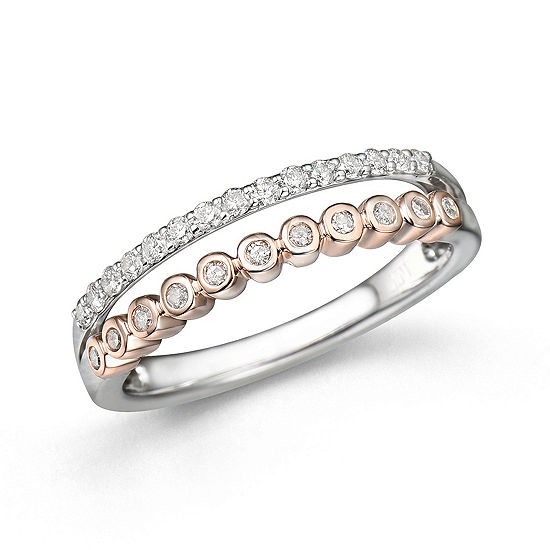 Womens 1/4 CT. T.W. Genuine White Diamond 10K Gold Delicate Stackable Ring